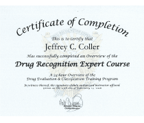 Certificate of Completion Drug Recognition Expert Course